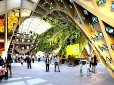 The French pavilion for the World Expo will utilize a latticed roof and hydroponics to grow hops, herbs, and vegetables!
