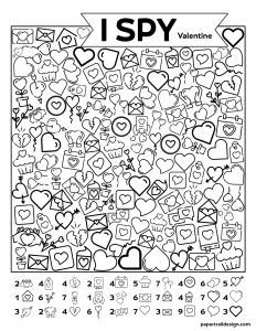 Holiday Party Discover Free Printable Valentine I Spy Activity - Paper Trail Design Valentine Bingo, Valentines Games, Valentine Activities, Wedding Activities, Printable Valentine, Activities For Kids, Valentine Crafts, Homemade Valentines, Valentine Wreath