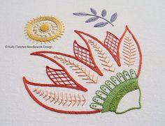 Burnesque, a Modern Jacobean crewel hand embroidery pattern