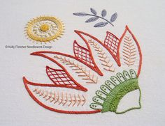 Burnesque Modern Jacobean crewel hand embroidery pattern - modern embroidery PDF…