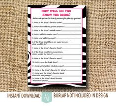 Instant Download Bridal Shower Game- Zebra Print Style with Pink- How Well Do You Know the Bride-Customization NOT Included