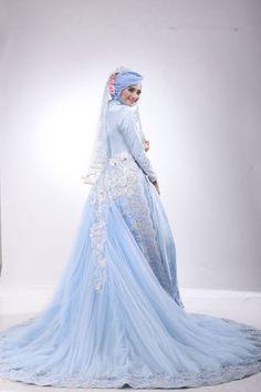 Kebaya Muslimah Laksmi  NEW COLLECTION by LAKSMI - Kebaya Muslimah & Islamic Wedding Service - 017 Hijab Dress Party, Hijab Style Dress, Lace Dress Styles, I Dress, Muslim Wedding Gown, Wedding Hijab, Muslim Dress, Wedding Gowns, Muslim Fashion