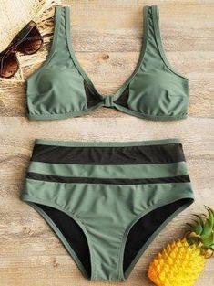 Sheer Mesh Insert High Waisted Bathing Suit - Green M #swimwear#style#woman#fashion