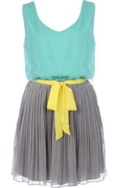 Summer Glow Dress: Features a beautiful mint chiffon bodice with a rounded V-design to both sides, brilliant yellow ribbon belt at waist, and a twirl-worthy pleated gray skirt to finish.
