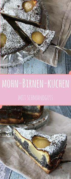 Mürbeteig, Mohn, Birnen und ein Schmandguss - ein wenig Aufwand und ein absoluter Hingucker auf jedem Kuchenbuffet ist fertig!