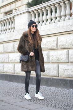 Furry Coat, Beanie, Stan Smith Adidas | stellawantstodie