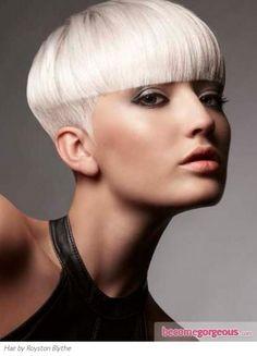 Hair ~ Platinum blonde edgy bowl like cut. Cute!