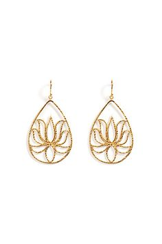 Gold Satya Lotus Earrings by SATYA | the latest trends from the capitals of the world