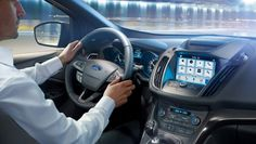 Ford Kuga interior, steering wheel, gearshift, centre console, SYNC3 with Voice Control and Touchscreen