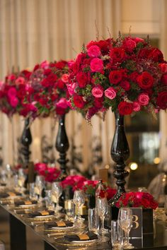 Sydney Wedding Flowers Blumenthal Photography - elevated centerpieces of hot pink and red flowers