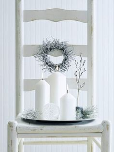 ☆ White Christmas Wonderland ☆ chair wreath and candles White Christmas, After Christmas, Noel Christmas, Beautiful Christmas, All Things Christmas, Simple Christmas, Christmas Crafts, Xmas, Christmas Chair
