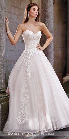 David Tutera Wedding Dresses 2017 For Mon Cheri Bridal ❤ See more: http://www.weddingforward.com/david-tutera-wedding-dresses/ #weddings