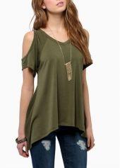 Chic V Neck Off the Shoulder T Shirts Green