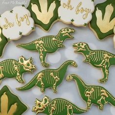 """706 Likes, 40 Comments - Andrea Jensen (@frostmebeautiful) on Instagram: """"Classy dino cookies for a baby shower! These beauties travelled from Canada to #Texas and then with…"""""""