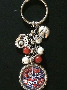 Boston Red Sox Inspired Keychain Red Sox Handcrafted Key Chain