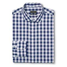 Men's Slim Fit Premium Cotton Non-Iron Gingham Dress Shirt Blue 1