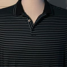 Nike Golf Dri Fit Polo Shirt Mens XL Striped Navy Light Blue Swoosh #NikeGolf #PoloRugby