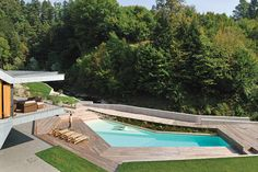 """Pool, Deck & Brook, Villa """"On the deck into life"""", Slovenia by Superform Contemporary Architecture, Landscape Architecture, Urban Landscape, Landscape Design, Deck Design, Garden Design, Outside Showers, Pool Waterfall, White Houses"""