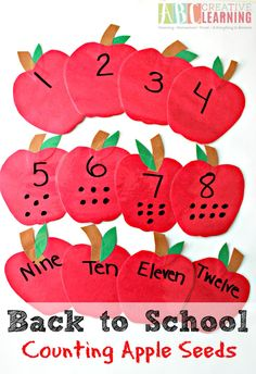 Back to School Counting Apple Seeds perfect for preschoolers! Review counting, number recognition, and practice fine motor skills! - abccreativelearning.com