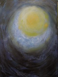 Original Large Twilight Moon Painting is yellow by PetrocyStudios