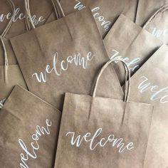 wedding welcome bags - kraft gift bags - wedding calligraphy - wedding inspiration - wedding details - modern calligraphy - wedding welcome Modern Wedding Stationery, Bespoke Wedding Invitations, Custom Invitations, Calligraphy Welcome, Wedding Calligraphy, Modern Calligraphy, Destination Wedding Welcome Bag, Wedding Welcome Bags, Bridesmaid Inspiration