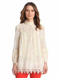 Anna Sui Women's Pinwheel Mixed Lace Long Sleeve Top, Cream, S