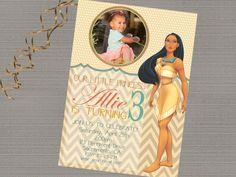 SALE Pocahontas Invitation Pocahontas Birthday by MerrimentPress