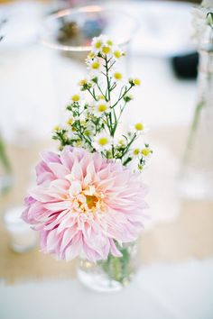 Simple table centerpiece with a chrysanthemum #blushpink #blushpinkwedding #flowers #weddingdecor #centerpiece