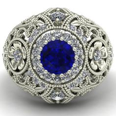 Blue Sapphire Ring  Large Vintage Style by CharlesBabbDesigns