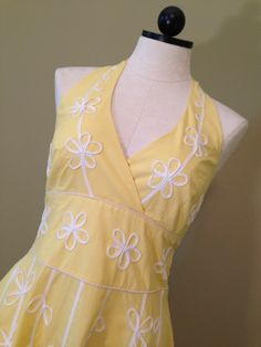 Womens Lilly Pulitzer Easter Halter Dress Lemon Sorbet Yellow Ret $298 Size 8