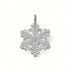"PE514-051-14.  STERLING SILVER    SEASONAL    Pendant ""snowflake"" with eyelet   925 Sterling silver   white syn. zirconia   This large snowflake is adorned with syn. zirconia stone and sparkles as beautifully as ice and not just when it's snowing.  Symbolising serenity, peace, purity and tranquility.  Size: 2.3 cm"