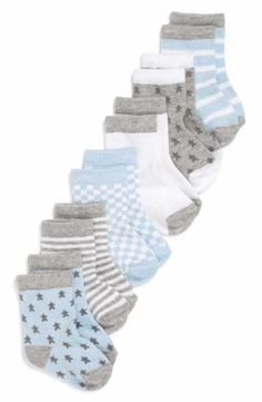 Keep little tootsies warm and cozy in patterned socks made from a soft cotton blend. Style Name:Nordstrom Baby Crew Socks (Baby) Style Number: Available in stores. Little Boy Fashion, Baby Boy Fashion, Toddler Fashion, Kids Fashion, Baby Boy Shoes, Baby Boy Outfits, Kids Outfits, Baby Pants, Newborn Outfits