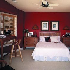 20 reasons to decorate with red | Create a lasting backdrop | See, I'm not the only one who chooses to paint their bedroom walls with a deep redish color!