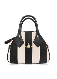 Vivienne Westwood Santa Monica Black & Peach Stripe Eco-Leather Satchel Bag