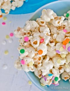 Birthday Cake Popcorn! Great for a child's birthday party snack or give away as a party favor.