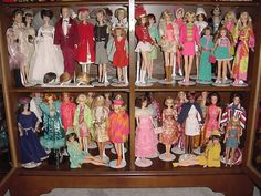Barbies from the 1960s and 70s.