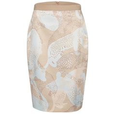 Marc Cain Animal Print Satin Skirt, Taupe/Blue (€170) ❤ liked on Polyvore featuring skirts, pencil skirt, animal print pencil skirt, patterned pencil skirt, stretchy pencil skirt and camo skirt