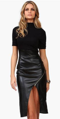 Faux Leather Black Dress. I usually don't like leather but this is fierce!