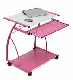 L Cart - Pink / White Glass, 50105 by Studio Designs Inc   BizChair.com
