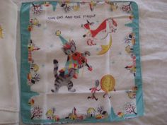The Cat and the Fiddle Handkerchief and Navy Silk Scarf
