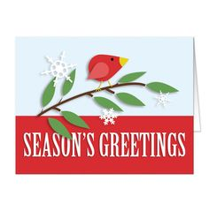 Christmas Cards - Red Holiday Bird Season's Greetings – Artistically Invited