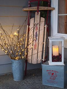 Lighted branch.  We have used these a lot this last year for all type of parties, they area availalbe in floral versions, batteries do not last so keep a supply on hand for maximum effectiveness. They are great to use as a night light for a guest room or powder room too.