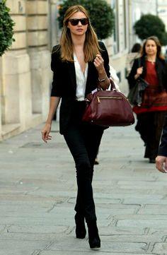 bag, outfit, miranda kerr, fashion, jacket, street style clothing sunglasses pants handbag burgundy casual women summer
