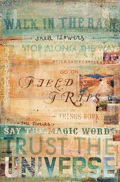 """Exkursionen - große 16 """"x 24"""" Papier drucken - rustikale inspirierende Reise Collage Wortkunst"""