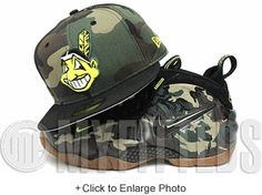 Cleveland Indians Woodland Camo Black Neon Yellow Army Camo Foamposite Matching New Era Hat Black Neon, Neon Yellow, New Era Fitted, Army Camo, Woodland Camo, New Era Hats, Foam Posites, Cleveland Indians, Snap Backs