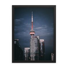 Framed poster of CN Tower in Toronto- Downtown - Canada - Toronto photographer - Framed Photo Print - Home Decor - Wall Art Toronto Photographers, Home Decor Wall Art, Cn Tower, Canada, Frame, Prints, Poster, Etsy, Wall Hanging Decor