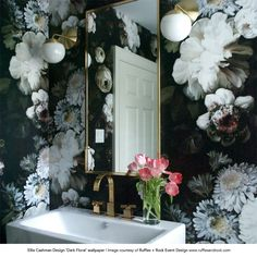 Dark Floral Wallpaper - by Ellie Cashman Design - Lorie Chambless - Wallpapers Designs
