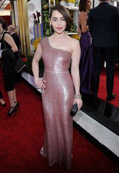 Emilia Clarke at the SAG Awards 2014. Emilia Clarke shimmered in her custom Calvin Klein Collection design.