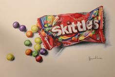 Time lapse drawing of an open packet of Skittles as drawn by Howard Lee. Music: Memories by Simplex provided by Audiopad Sweet Drawings, Realistic Drawings, Art Drawings Sketches, Colorful Drawings, Candy Drawing, Food Drawing, Arte Gcse, A Level Art Sketchbook, Food Artists