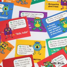 Printable monster themed lunch box jokes and menu planner